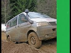 vw t5 4motion offroad vw transporter 4motion snow and mud offroad compilation