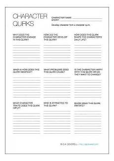 writing fiction worksheets 22272 character quirks writing worksheet wednesday creative writing worksheets writing tips