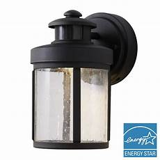 hton bay black motion sensor outdoor integrated led small wall lantern izd1691ls 3