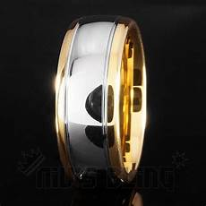18k gold silver dome tungsten carbide ring 8mm niv s bling