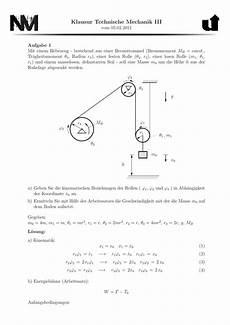 klausur technische mechanik iii