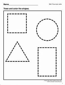 tracing shapes preschool basic skills fine motor printable skills sheets