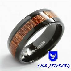 8mm mens tungsten ring black with inlay comfort fit wedding band size 6 16 ebay