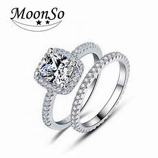 moonso 925 sterling silver rings set real silver cz