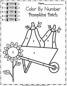 free kindergarten fall color by number worksheet madebyteachers