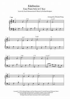 download edelweiss easy piano solo in c key with chords sheet music by rodgers hammerstein