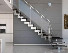 Treppengeländer Innen Glas - moderne innentreppe design metall schwarze stufen gel 228 nder