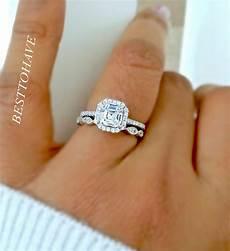 new 925 silver 2 piece asscher cut halo wedding engagement ring ebay