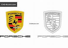 porsche logo autocad vector in dwg