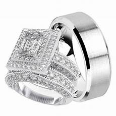 his and hers matching trio wedding engagement ring set laraso co