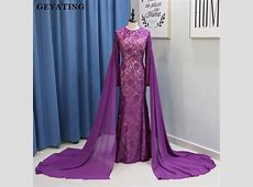 Purple Lace Mermaid Muslim Evening Dress with Cape Long