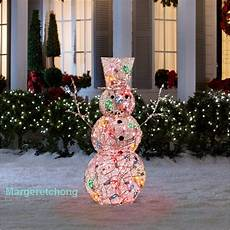 Lighted Decorations by Gemmy 4 Ft Multicolor Lighted Frosted Vine Snowman Outdoor