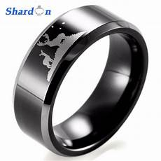 shardon 8mm black beveled two toned tungsten carbide comfort fit white lasered deer hunting