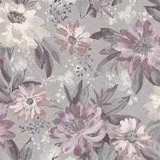 flower wallpaper grey arthouse painted dahlia floral grey and purple