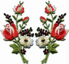 fiori patchwork black roses pair flowers embroidered appliques iron