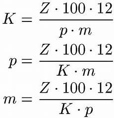 zins und prozentrechnung formeln