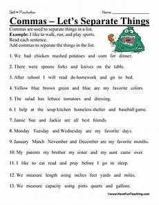 worksheets on using commas in sentences punctuations worksheet have fun teaching