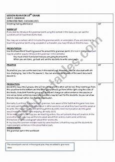grammar lesson plans for high school 25083 grammar lesson plan sle esl worksheet by guneyayse61