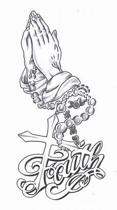 awesome faith tattoo design with cross and praying hands drawing pinterest faith tattoos