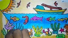 Cara Menggambar Pemandangan Pantai Bawah Laut
