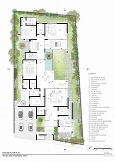 atriumhaus grundriss modern ground level floor plan of contemporary residence in