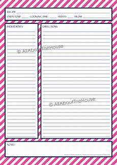 recipe template allaboutthehouse printables
