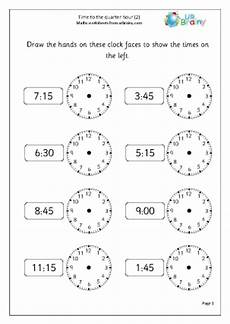 time to the quarter hour 2 time maths worksheets for year 2 age 6 7