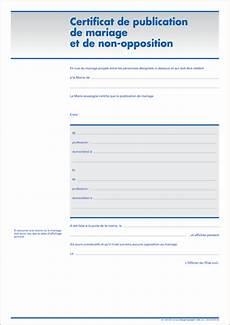 certificat de non certificat de publication de mariage et de non opposition