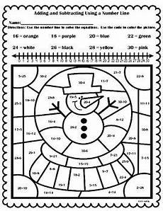 winter multiplication worksheets grade 3 4825 free winter color by number adding and subtracting using a number line adding subtracting