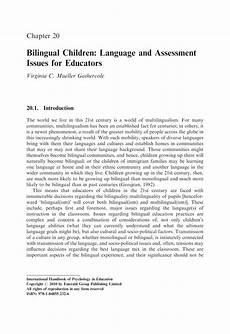 pdf bilingual children language and assessment issues for educators