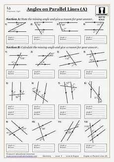 geometry lines worksheets 791 printable worksheets angles on parallel lines a maths worksheet with images geometry
