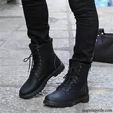 Boots Homme Mode Bottes Homme Cuir Soldes Hautes Tendance Chaussures En