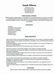 resume template for logistics professional logistics specialist resume templates to showcase your talent myperfectresume