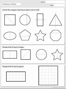 shapes in half worksheets 1140 recognizing halves studyladder interactive learning