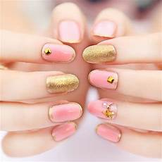 new 24pcs set beauty pre design oval nail tips with star