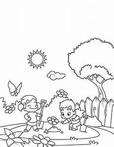 Malvorlagen Zum Drucken Spielen Ausmalbild Fr 252 Hling Kinder Spielen Im Garten Zum
