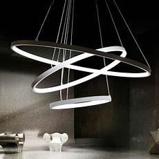 luminaire suspension moderne modern led pendant lights for foyer 3 rings light aluminum