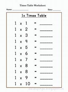 kids page printable 1 times table worksheets for free