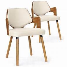 chaises scandinave simili cuir blanc mias lot de 2 pas