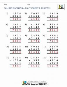 4 digit addition worksheets for grade 4 9165 free printable addition worksheets 3rd grade