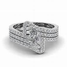 crossover marquise diamond trio wedding ring in 14k