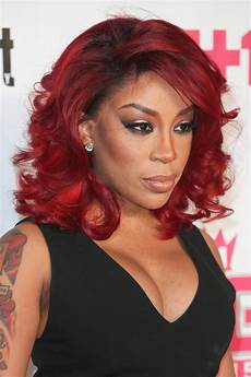 k michelle wavy burgundy bob layered bob hairstyle