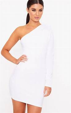 white one shoulder ruched bodycon dress dresses