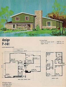 split level house plans 1960s national plan service design p 141 vintage house plans