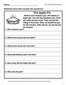 the apple pie reading comprehension printable skills sheets