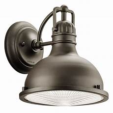 industrial style led outdoor wall light with fresnel diffuser 49065ozled destination lighting