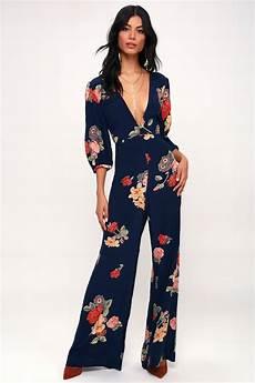 capulet nat navy blue floral print jumpsuit plunge jumpsuit