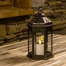 Lanterne Solaire Hexagonale Bronze Antique Avec Bougie H