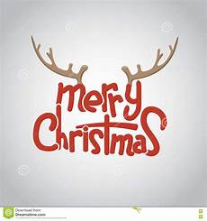 merry christmas lettering design with deer horn vector illustration stock vector