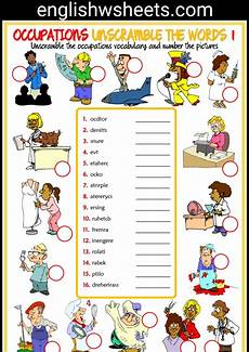 esl printable unscramble the words worksheets for kids occupations professions